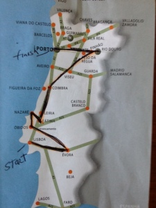 Map of Portugal and our route